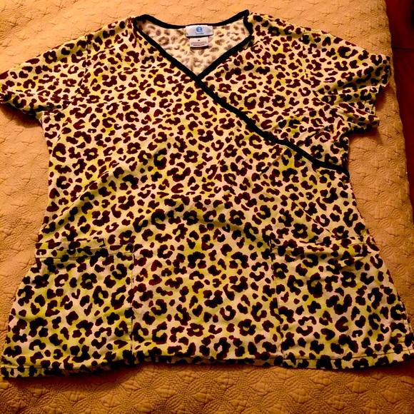 Cheetah print scrub top